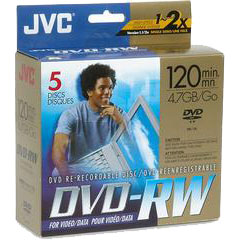 JVC 5 RECOEDABLE DISCS 120MIN 4.7GB DVD-R